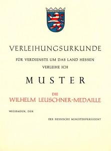 Muster Urkunde Leuschner-Medaille