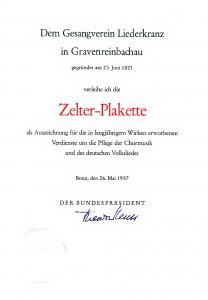 Faksimile-Urkunde zur Zelter-Plakette