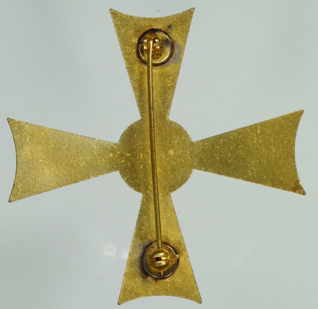 Rückseite des Verdienstkreuzes 1. Klasse des Feuerwerkers Hugo Winter aus Kreuzau, vom 12. März 1976. Hersteller: Fa. Steinhauer & Lück.