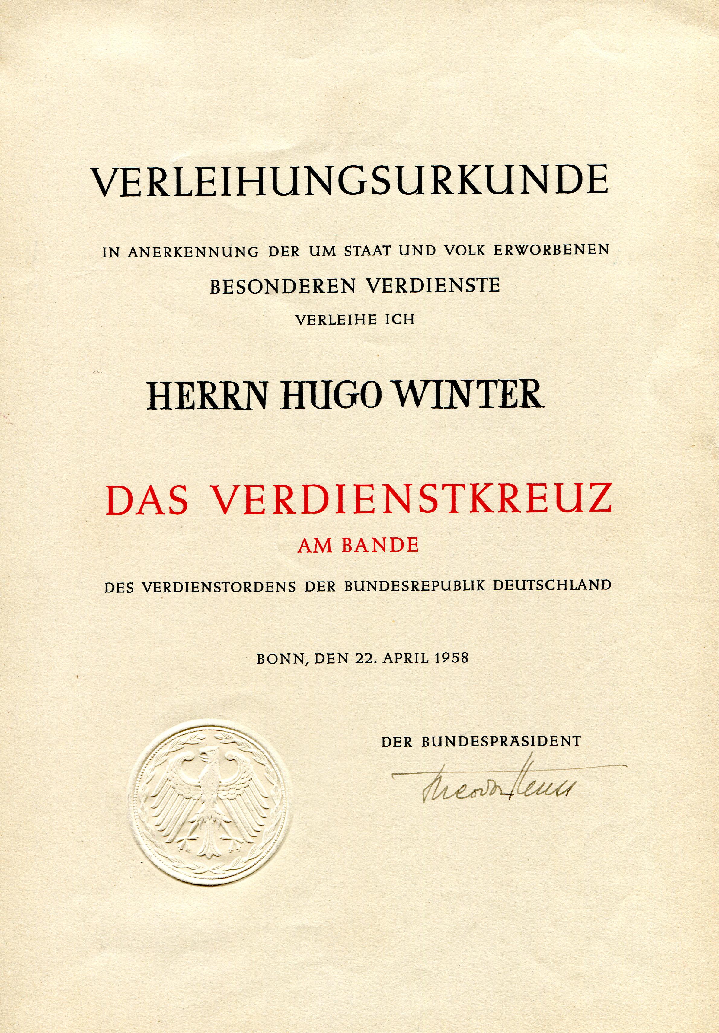 Die Auszeichnungen des Feuerwerkers Hugo Winter • Virtuelles ...
