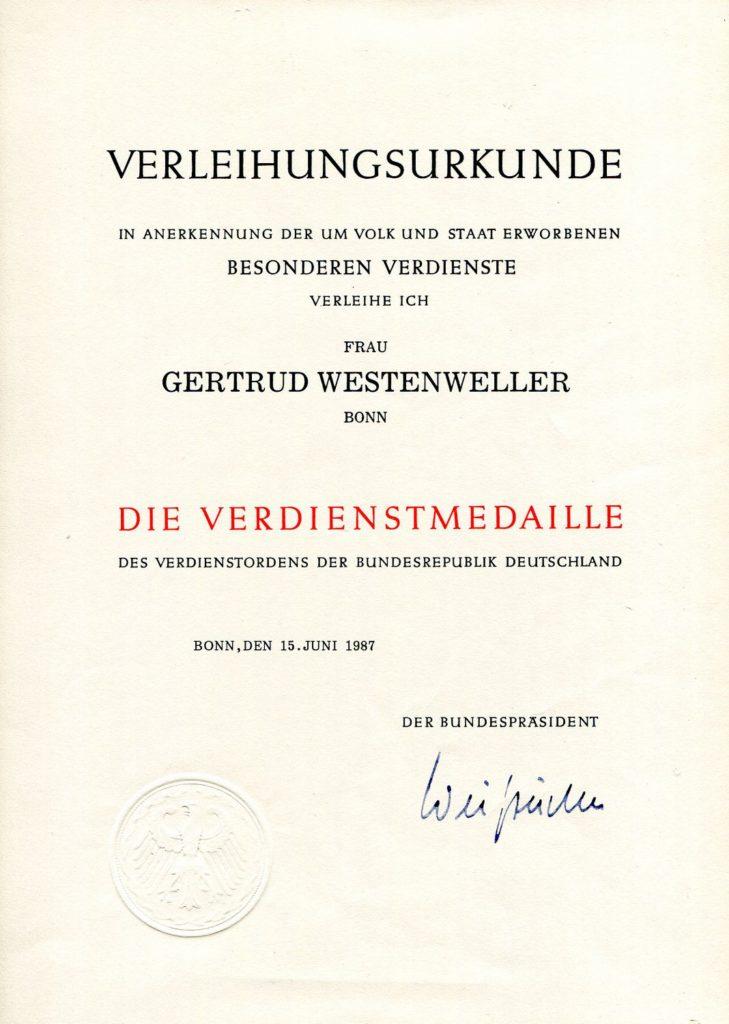 VU Medaille 1987